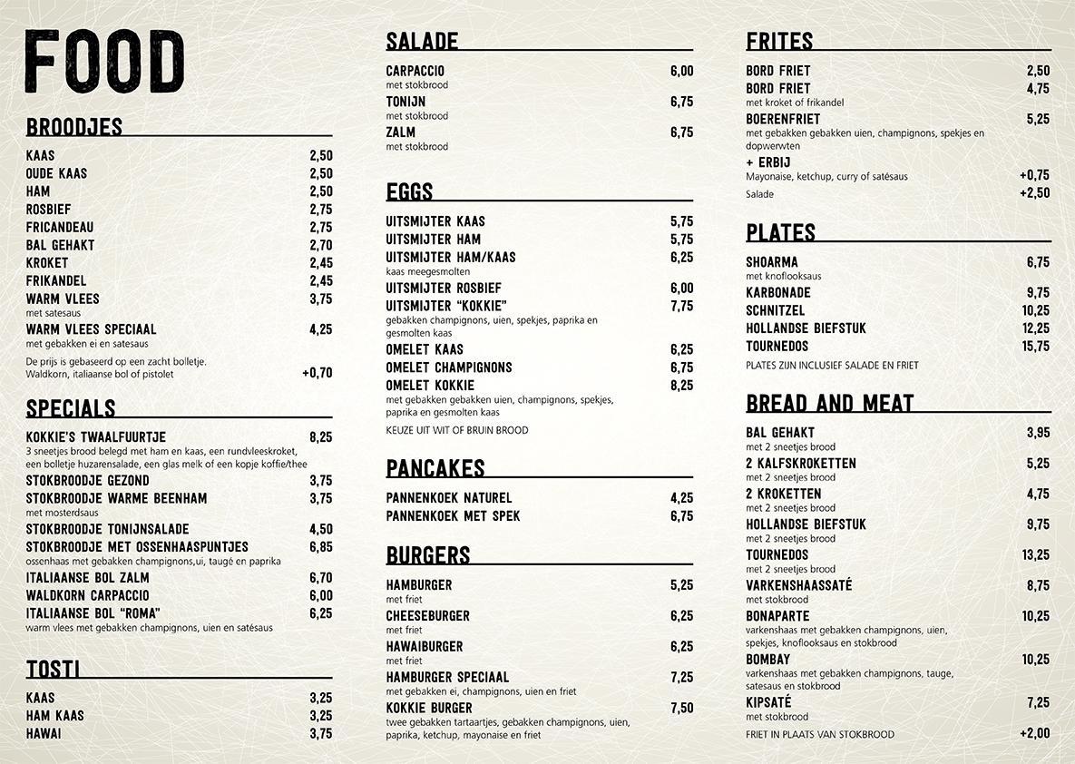 Menu At Cafe Milano